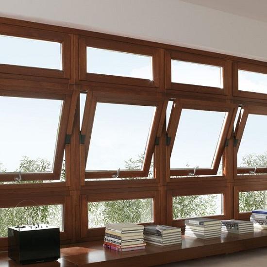 پنجره دوجداره محوری چوبی